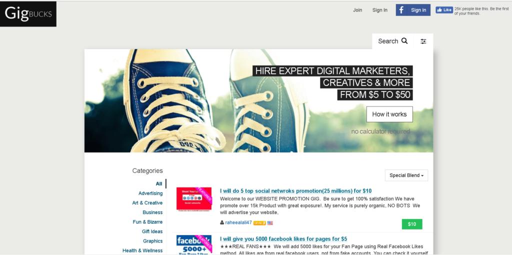 Páginas Similiares a Fiverr: GigBucks