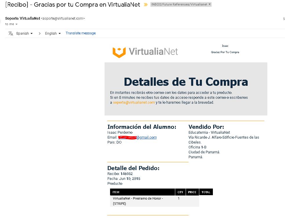 Virtualianet Funciona: Prueba Compra